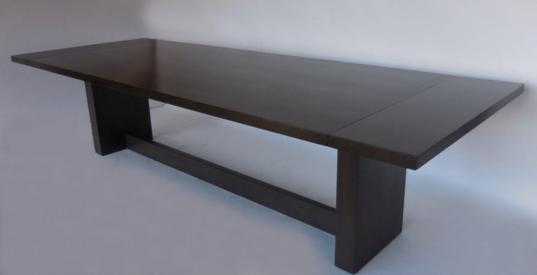 Dos Gallos Custom Modern Walnut Dining Table with Leaves For Sale 4