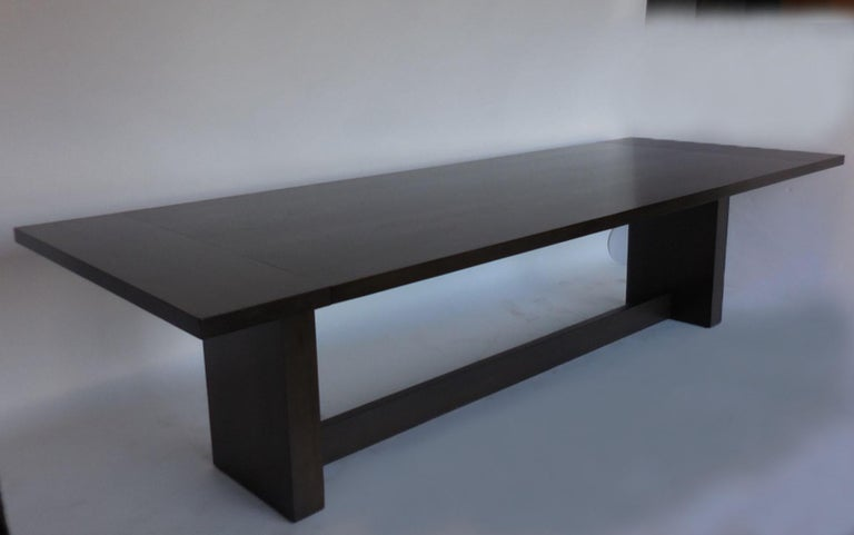 Dos Gallos Custom Modern Walnut Dining Table with Leaves For Sale 5