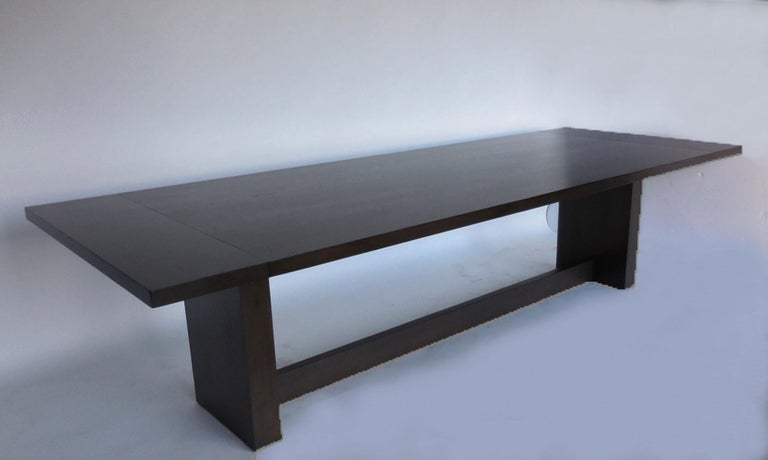 American Dos Gallos Custom Modern Walnut Dining Table with Leaves For Sale