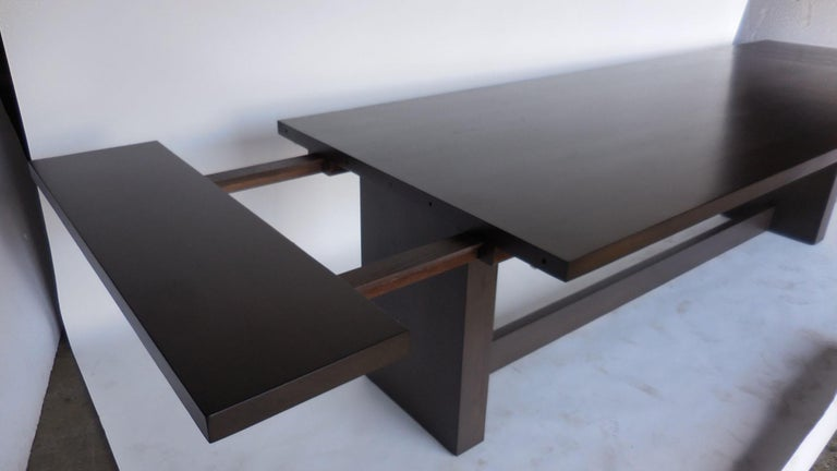 Dos Gallos Custom Modern Walnut Dining Table with Leaves In New Condition For Sale In Los Angeles, CA