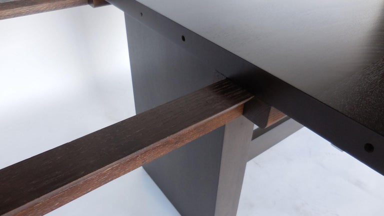 Contemporary Dos Gallos Custom Modern Walnut Dining Table with Leaves For Sale
