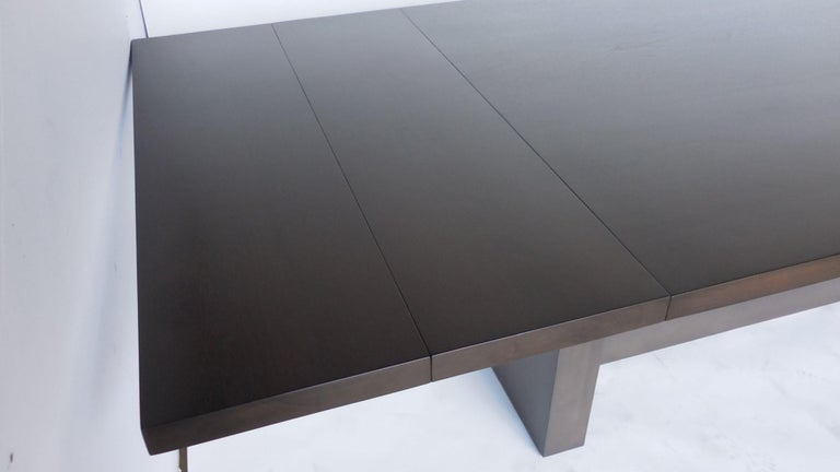 Mahogany Dos Gallos Custom Modern Walnut Dining Table with Leaves For Sale