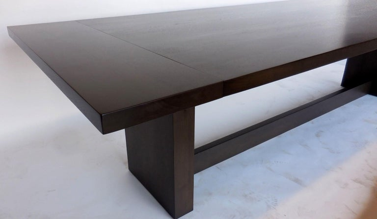 Dos Gallos Custom Modern Walnut Dining Table with Leaves For Sale 3