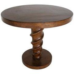 Dos Gallos Custom Walnut Cork Screw Pedestal Side Table