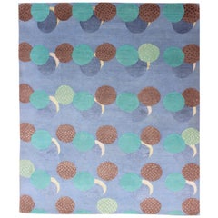 Dot Design Modern Design Wool and Silk Nepalese Rug