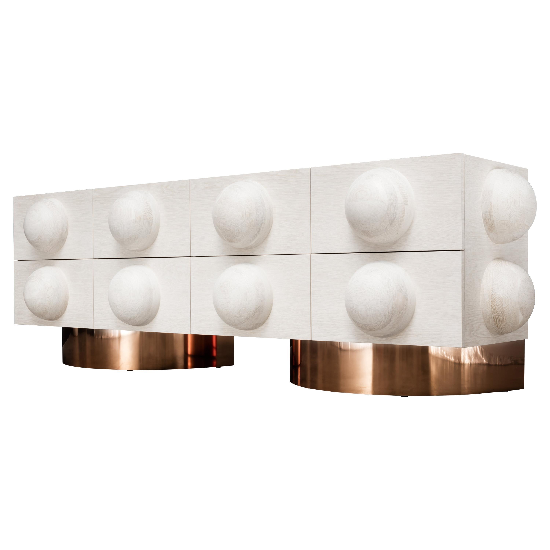 Dot Dresser, 8-Drawer Modern Wood Dresser with Sphere Detail and Metal Plinth