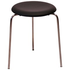 Dot Stool with Black Leather Designed by Arne Jacobsen, 1971