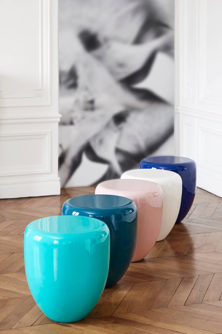 Lacquered Dot, Side Table or Stool, Bohemian Blue, by Reda Amalou Design, 21st Century For Sale