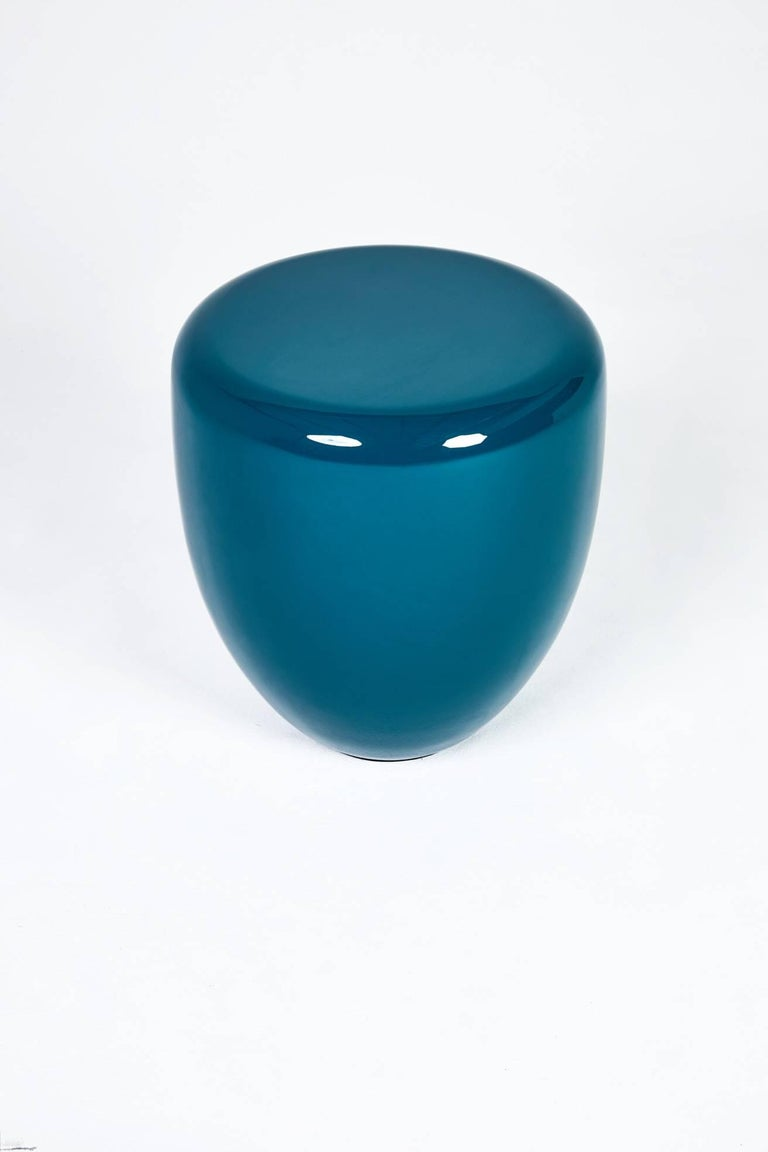 Vietnamese Dot, Side Table or Stool, Peacock Blue,  by Reda Amalou Design, 21st Century For Sale