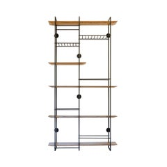 """Dots 5 grid"" Minimalist Floating Shelf Unit in Stainless Steel and Hardwood"
