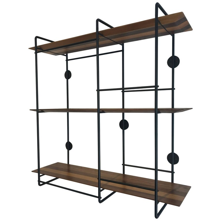 Dots Floating Shelf Unit In Stainless Steel And Hardwood For