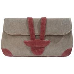 Dotti beige textile and croco print leather clutch