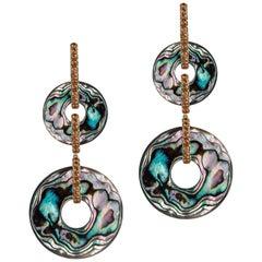 Goshwara Double Abalone With Brown Diamonds Earrings