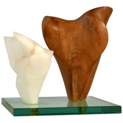 Double Abstract Sculpture in Carved Wood and Alabaster