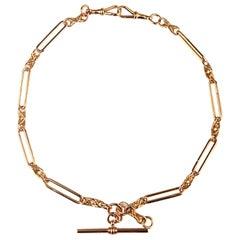 """Double Albert Pocket watch Chain with """"T"""" Bar in British 9 Karat Gold, Antique"""