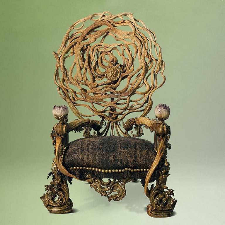 Armchair double amethyst with structure in solid mahogany from Borneo, with solid lianes. With 2 big amethyst stones from Brazil. Seat in natural hemp. Nails, details and finishes in solid bronze. Exceptional piece, Vegan style, made in France