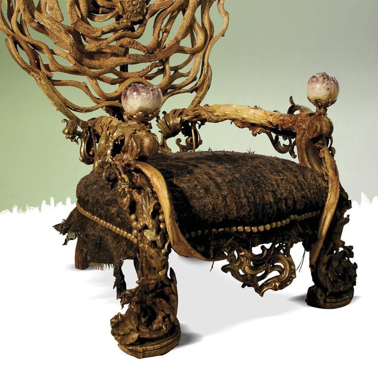Double Amethyst Armchair with 2 Amethyst Stone In Excellent Condition For Sale In Paris, FR