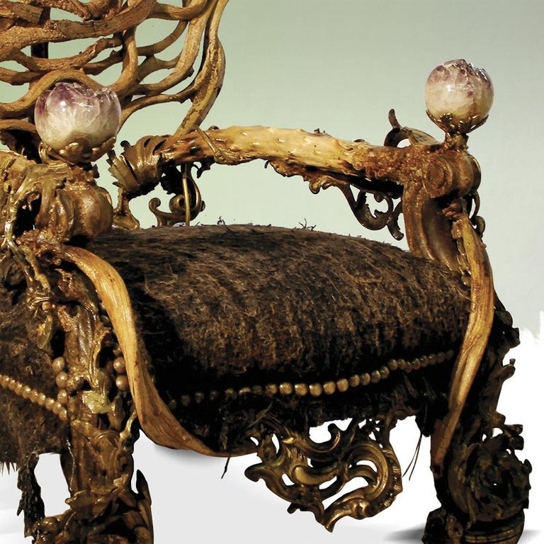 Bronze Double Amethyst Armchair with 2 Amethyst Stone For Sale