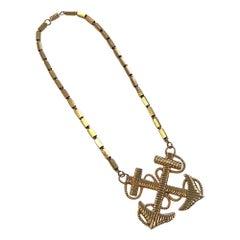 Double Anchor Nautical 1970s Pendant Necklace