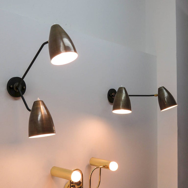 Double Arm Brass Wall Lights 'L3G' by Gallery L7 For Sale 3