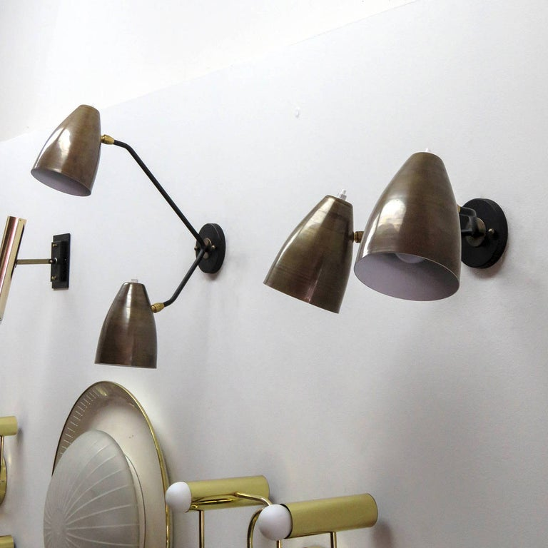 Enameled Double Arm Brass Wall Lights 'L3G' by Gallery L7 For Sale