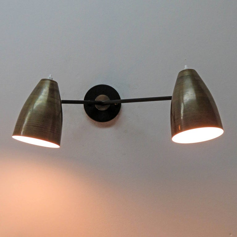 Double Arm Brass Wall Lights 'L3G' by Gallery L7 For Sale 2