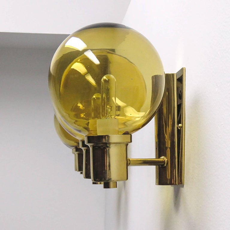 Polished Double Arm Wall Lights by Hans Agne Jakobsen, 1950 For Sale
