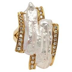 Double Biwa Freshwater Pearl and Diamond 14 Karat Yellow Gold Ring