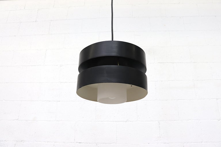 Mid-Century Modern Double Black Cylinder Pendant Light For Sale