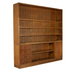 Double Body Bookcase Walnut Vintage Manufactured in Italy, 1940s