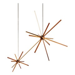 Double Boom Chandelier Wood Led Lamp in Heart Pine and Brass by Stickbulb