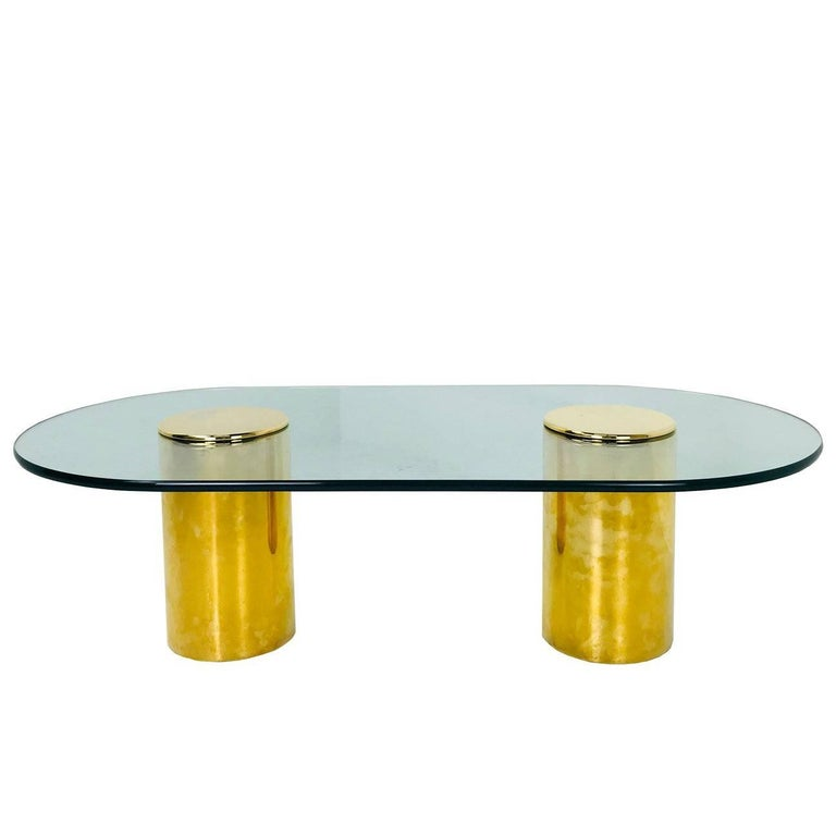 Double Brass Pedestals Coffee Table by Directional