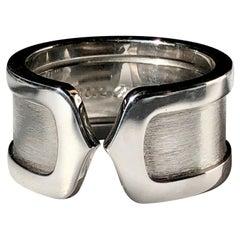 Double C Cartier 18 Karat White Gold Ring