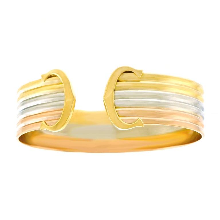 Double C de Cartier Logo Gold Cuff Bracelet