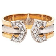 Double C de Cartier Ring Diamond Vintage 18k Tri Gold with COA