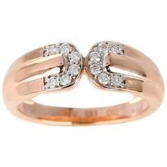 Double C Diamond Band, 14 Karat Rose Gold