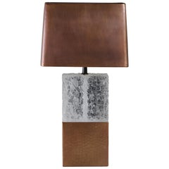 Double C Table Lamp with Copper Shade, Crystal and Copper by Robert Kuo Handmade