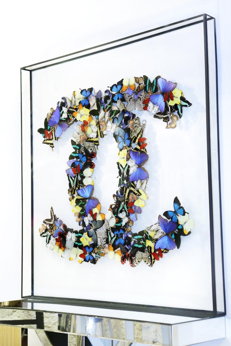 Wall decoration double Chanel butterflies under glass box frame, anti UV glass, with real multicolored butterflies from bredding farms. Exceptional and unique piece made in France in 2020.