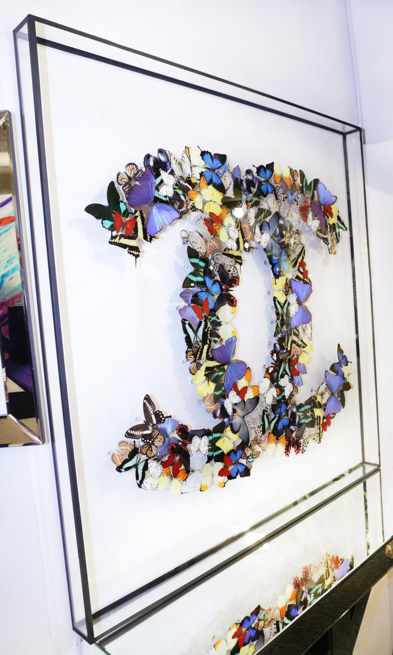 Hand-Crafted Double Chanel Butterflies Glass Box Frame Wall Decoration For Sale
