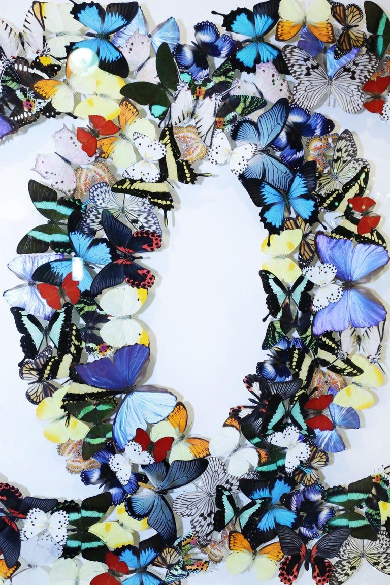 Double Chanel Butterflies Glass Box Frame Wall Decoration In New Condition For Sale In Paris, FR