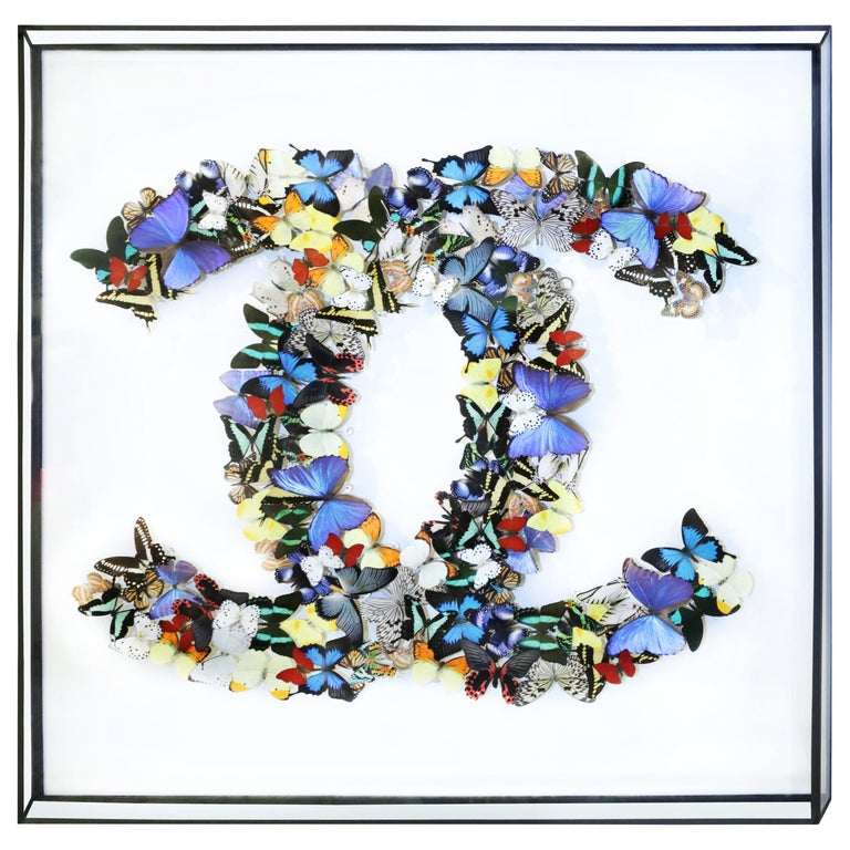 Double Chanel Butterflies Glass Box Frame Wall Decoration For Sale