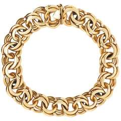 Double Charm Bracelet 14 Karat Gold, 33.6 Grams, Double Loop
