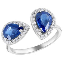 Open Band with Facing Pear Shape Sapphires and Diamonds Cocktail Ring
