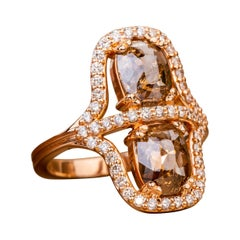 Double Cognac Rose Cut Diamond Ring with a Champagne Diamond Halo