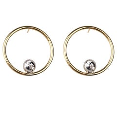Double Color Gold and Rhodium Orbit Hoops Earrings by Cristina Ramella