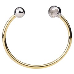 Double Color Gold and Rhodium Plated Orbit Bangle Bracelet by Cristina Ramella