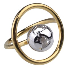 Double Color Plated Yellow Gold and Rhodium Orbit Ring by Cristina Ramella
