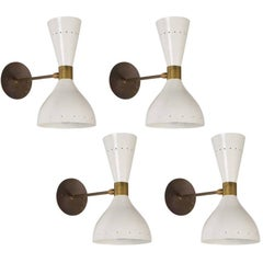 Double-Cone Italian Sconces in the Style of Stilnovo