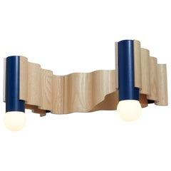 Double Corrugation Sconce / Wall Light in Natural Ash Veneer and Sapphire Blue