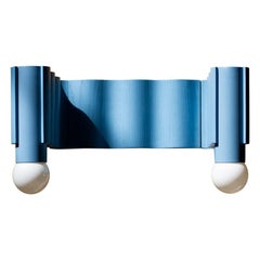 Double Corrugation Sconce / Wall Light in Pastel Blue